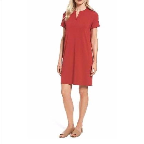 4ff5b6938f Eileen Fischer Mandarin Collar T Shirt dress PS